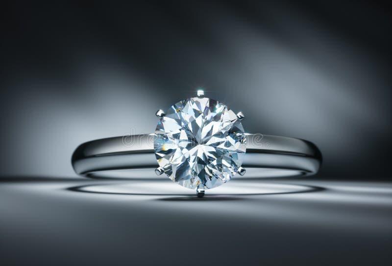 Anel de diamante em um fundo escuro ilustração stock
