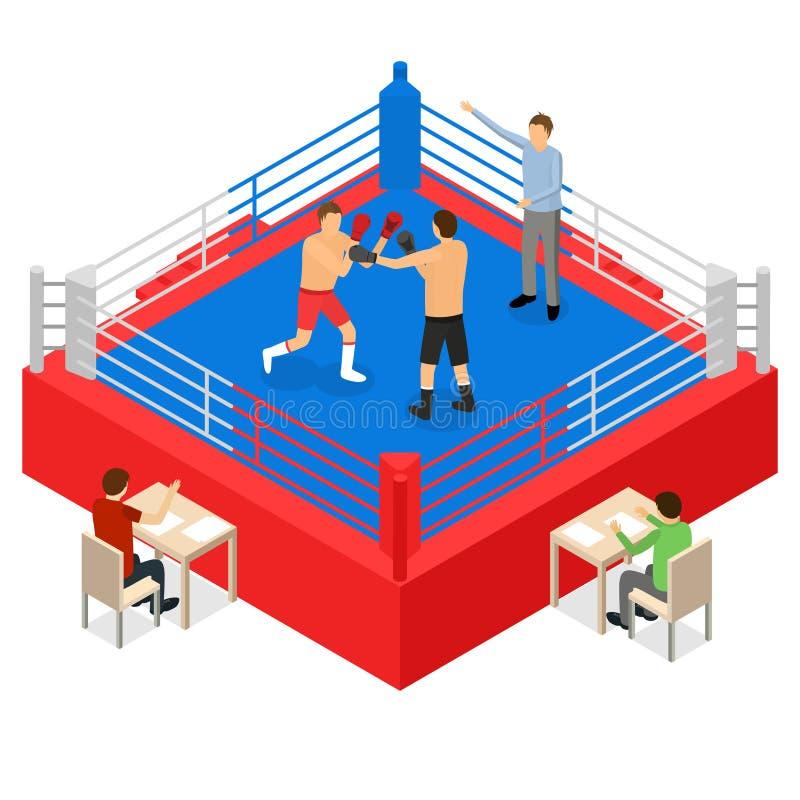 Anel de encaixotamento para a opinião isométrica do conceito 3d da competição de esporte da luta Vetor ilustração royalty free