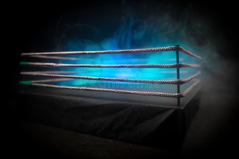 Anel de encaixotamento vazio com cordas vermelhas para o fósforo na arena do estádio Decoração criativa da arte finala fotos de stock royalty free