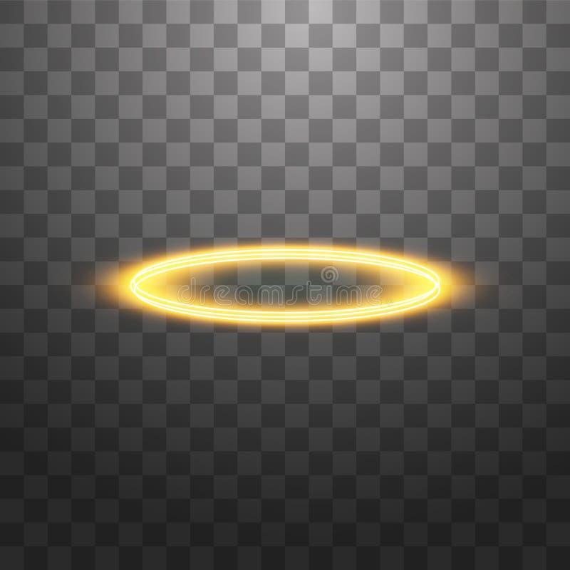Anel de halo dourado Isolado sobre fundo preto transparente, ilustração vetorial ilustração royalty free