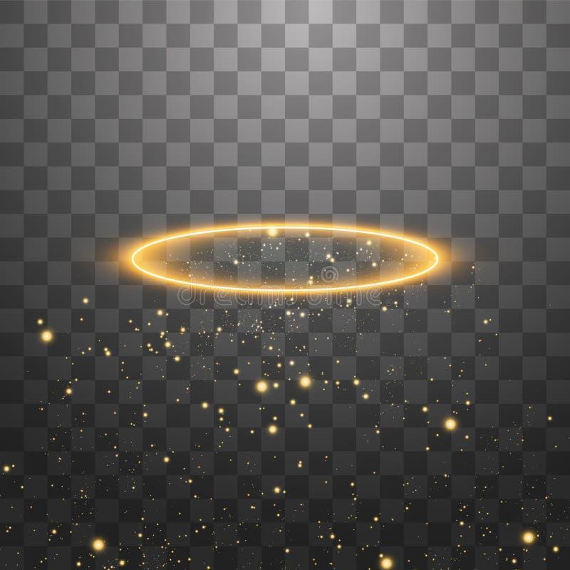 Anel de halo dourado Isolado sobre fundo preto transparente, ilustração vetorial ilustração stock