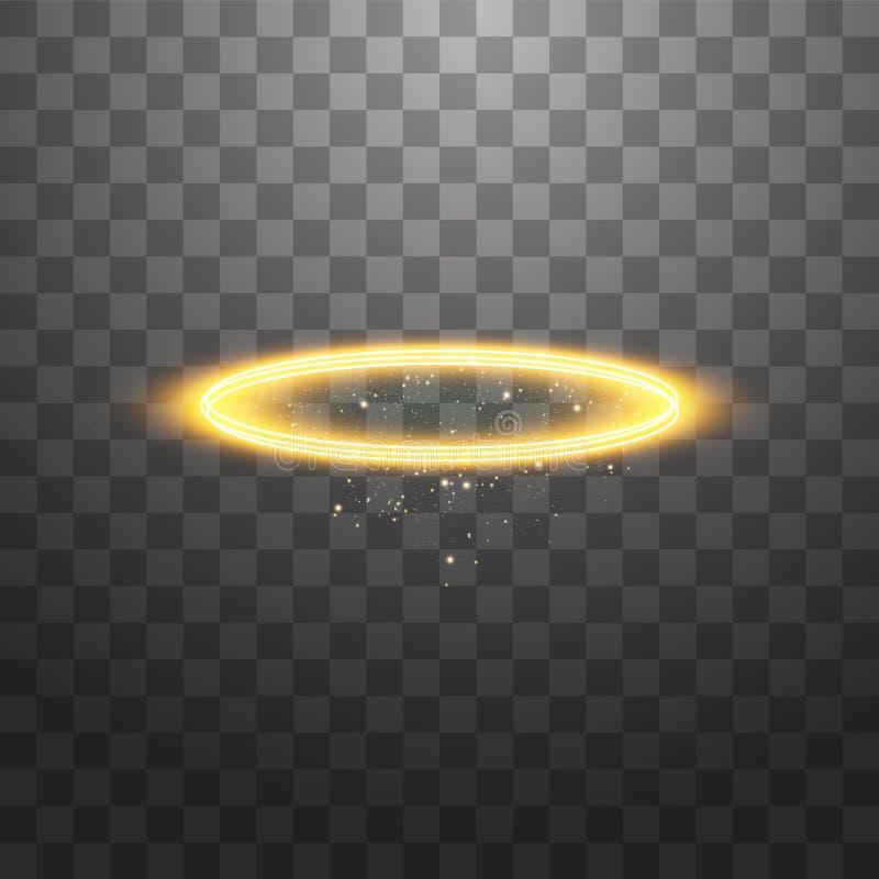 Anel de halo dourado Isolado sobre fundo preto transparente, ilustração vetorial ilustração do vetor