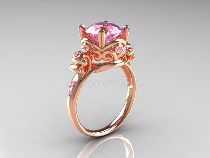 Anel de noivado cor-de-rosa do vintage do ouro de Rosa da safira ilustração stock