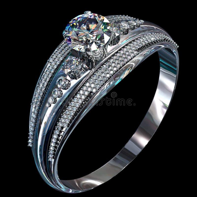 Anel de noivado de prata com gema do diamante foto de stock