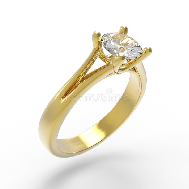 Anel de noivado do solitário do diamante fotos de stock royalty free