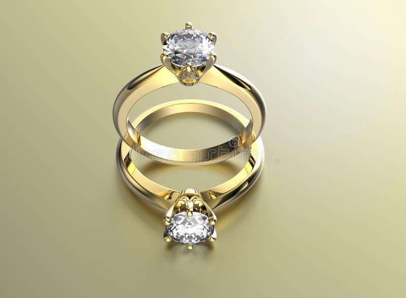 Anel de noivado dourado com diamante ilustração royalty free
