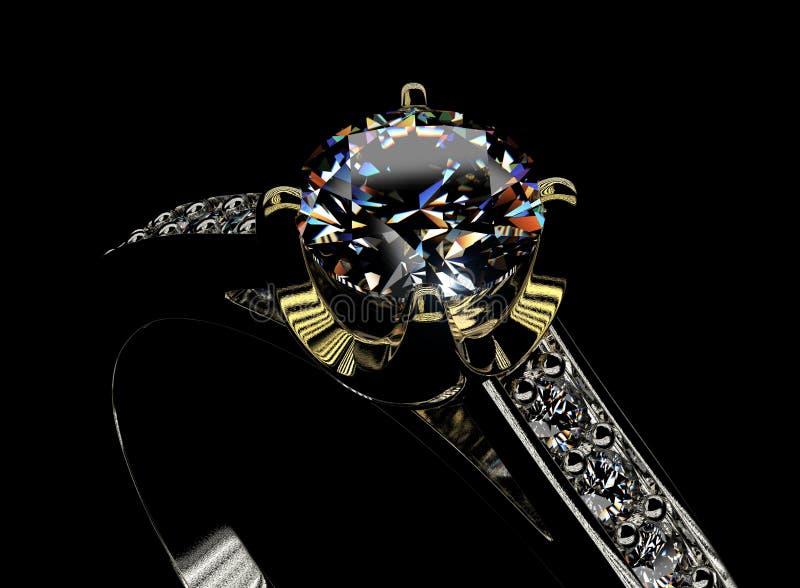 Anel de noivado dourado com diamante ilustração stock