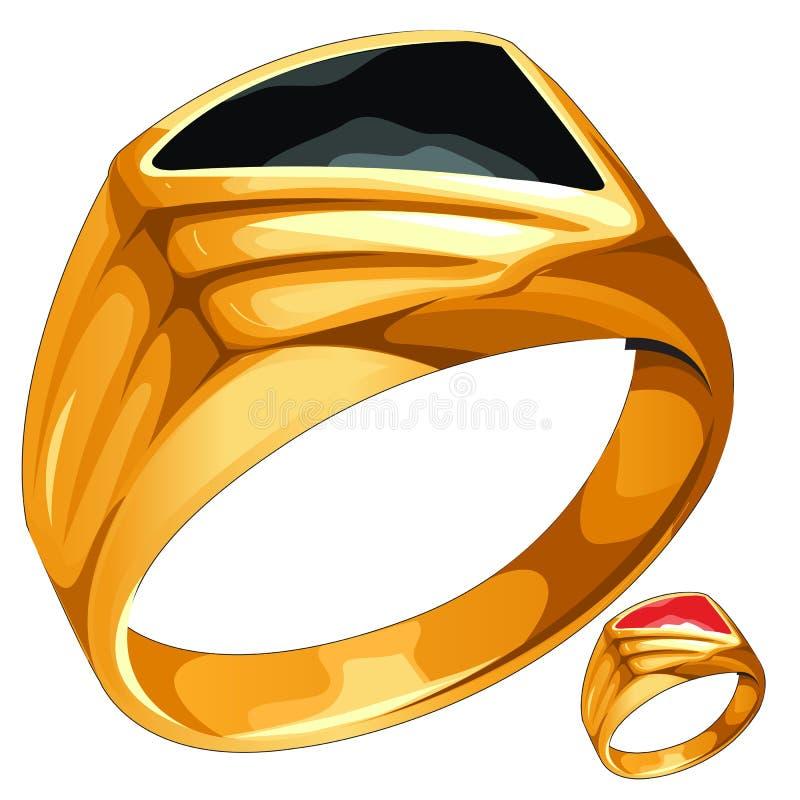 Anel de ouro amarelo dos homens com pedra cara ilustração do vetor