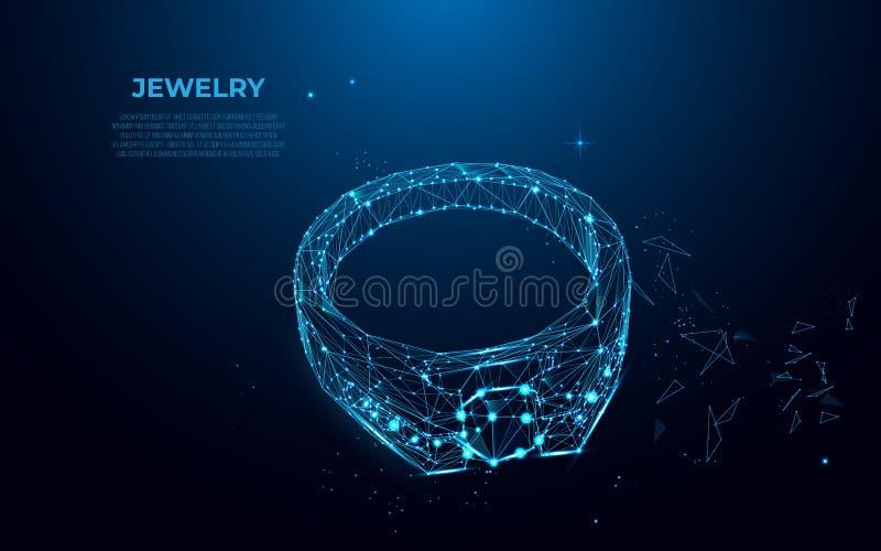 Anel de ouro com um diamante das partículas, das linhas e dos triângulos Silhueta poligonal do wireframe da joia ilustração stock
