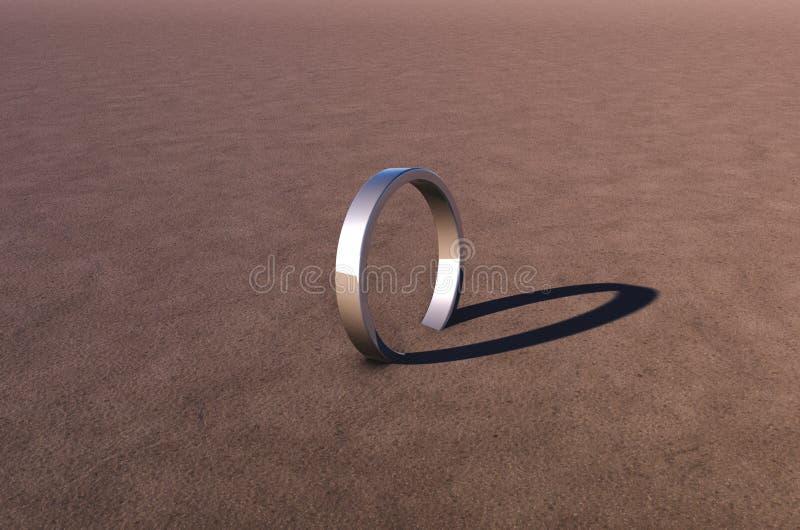 Anel de prata na areia ilustração stock