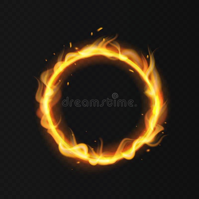 Anel do fogo Vetor isolado de ardência do efeito do fogo morno quente impetuoso ardente realístico da aro do círculo do circo ard ilustração stock