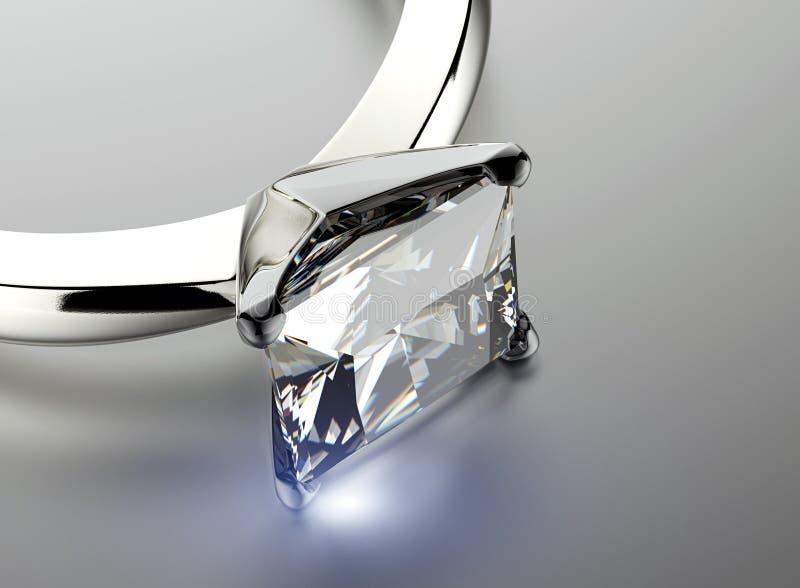 Anel dourado com diamante Fundo preto da jóia da tela do ouro e da prata ilustração do vetor