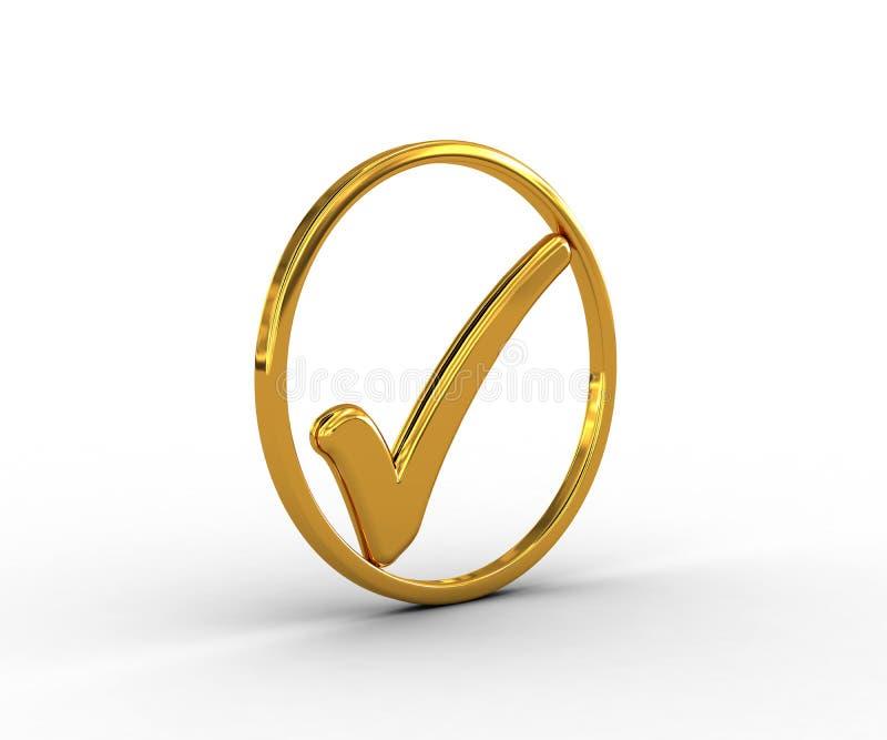 Download Anel Dourado Com Marca De Verificação Ilustração Stock - Ilustração de aprovado, aprove: 29840690