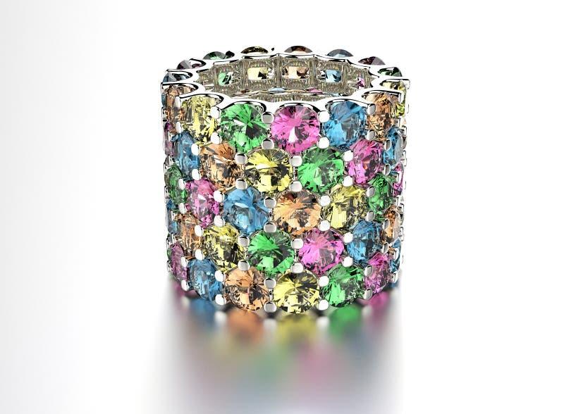 Anel dourado com o diamante diferente da cor Fundo preto da jóia da tela do ouro e da prata imagens de stock