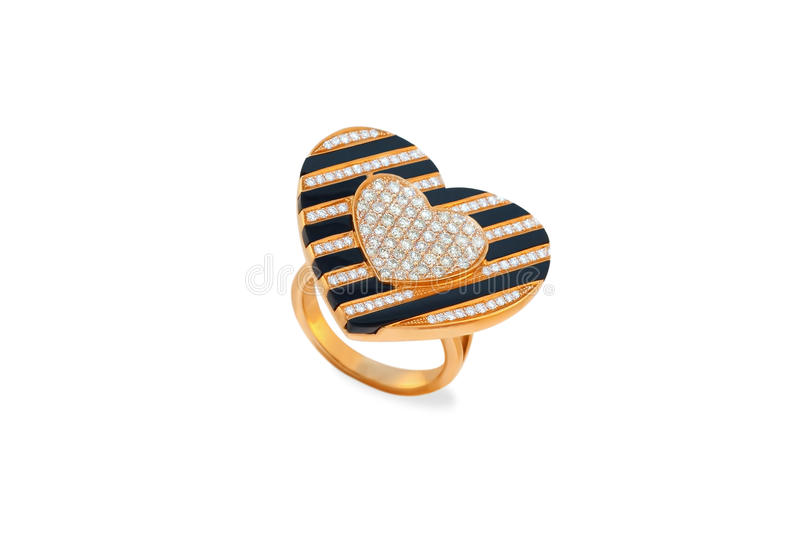 Anel dourado com onyx e diamantes fotografia de stock