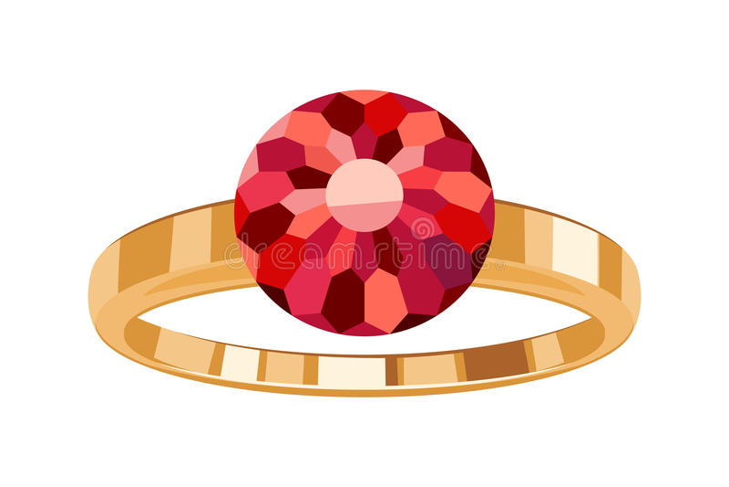 Anel dourado com símbolo redondo do ícone do rubi isolado ilustração do vetor