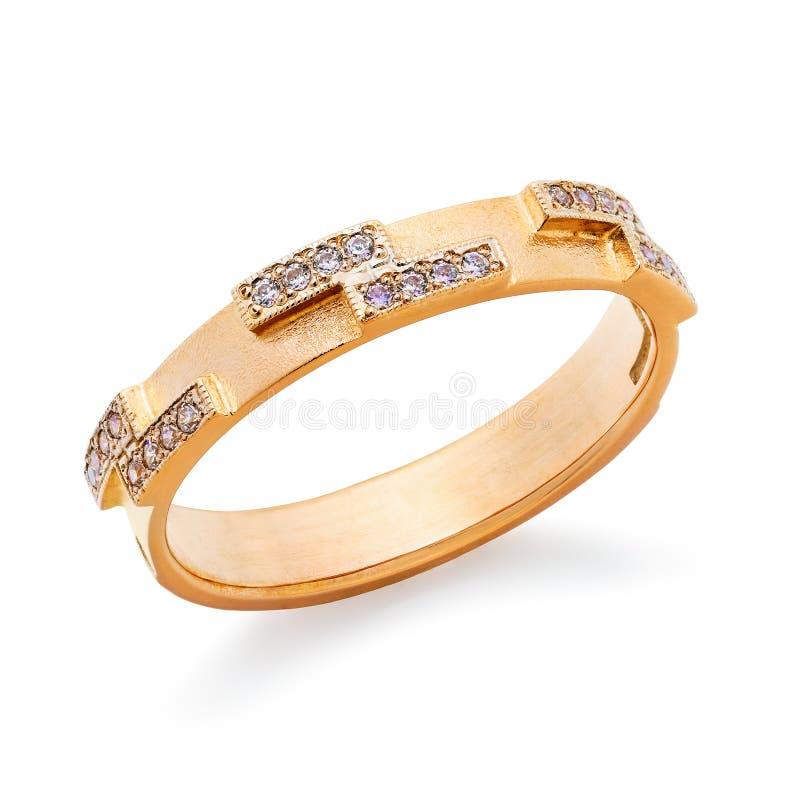 Anel dourado delicado decorado com as gemas pequenas, isoladas imagem de stock royalty free