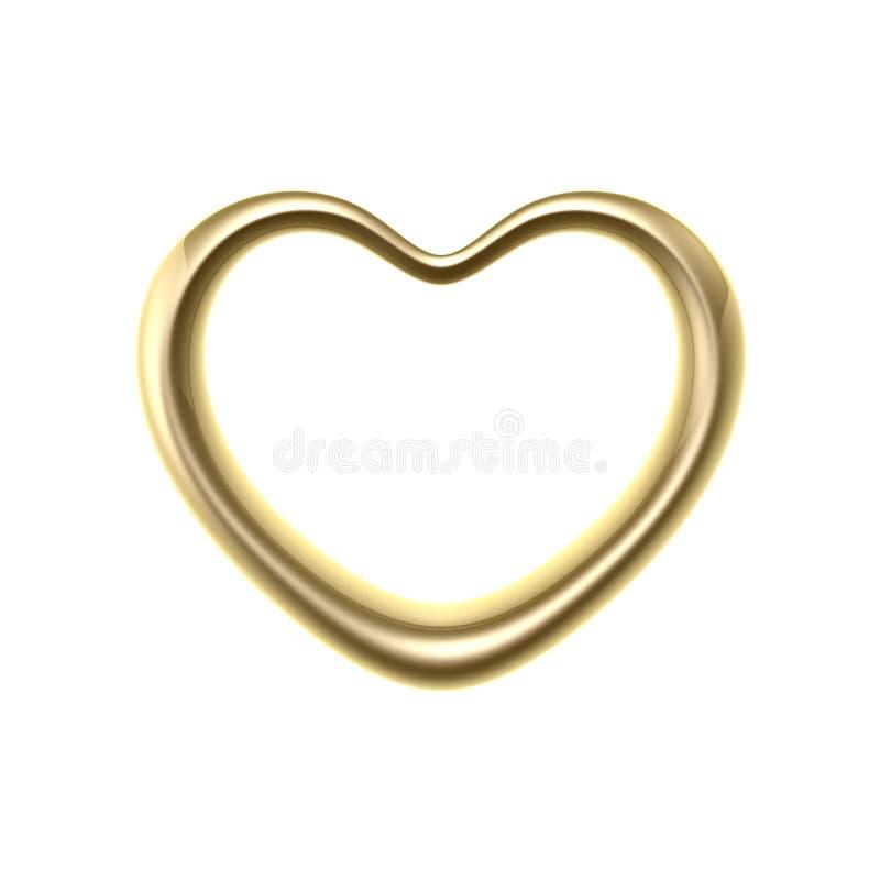 Anel dourado do coração do amor ilustração royalty free