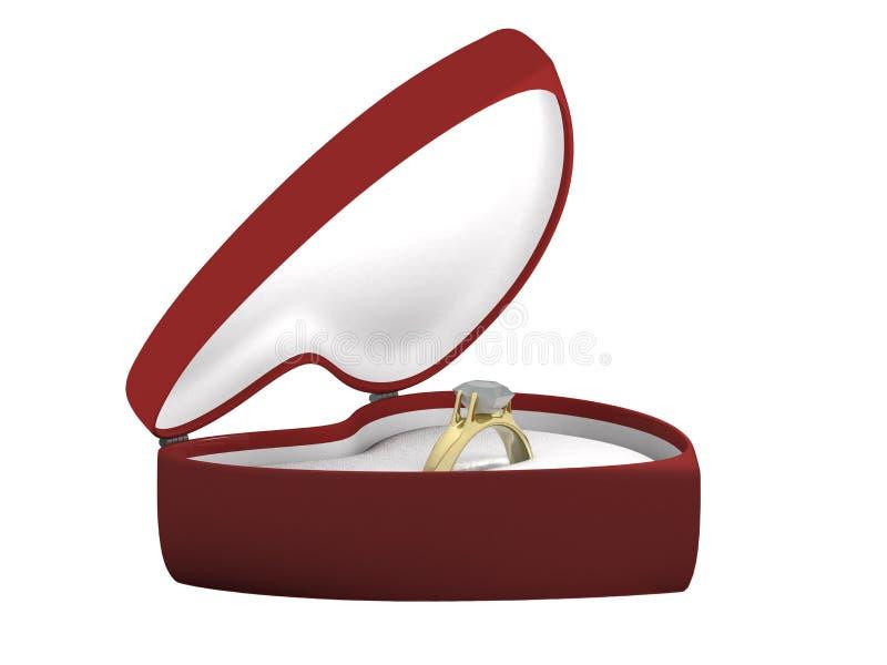 Anel dourado do presente em uma caixa um outro ângulo ilustração royalty free