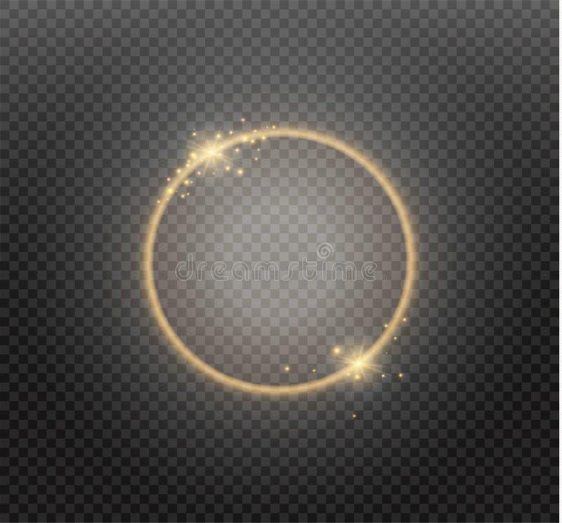 Anel dourado luxuoso abstrato no fundo transparente Efeito da luz claro do projetor dos círculos do vetor Cor do ouro redonda ilustração do vetor