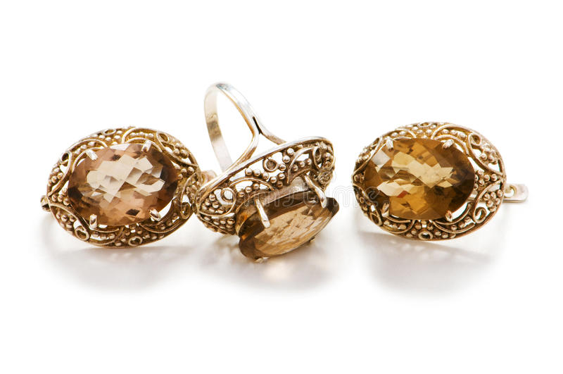Anel e brincos dourados imagens de stock