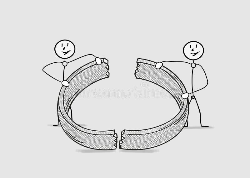 Anel quebrado, divórcio ilustração do vetor