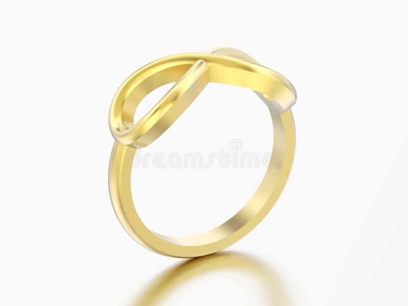 anel simples da infinidade do ouro da ilustração 3D ilustração do vetor