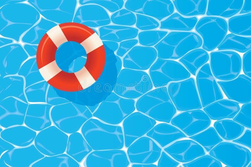 Anel vermelho da associação que flutua em uma piscina azul Backgroun do verão ilustração royalty free