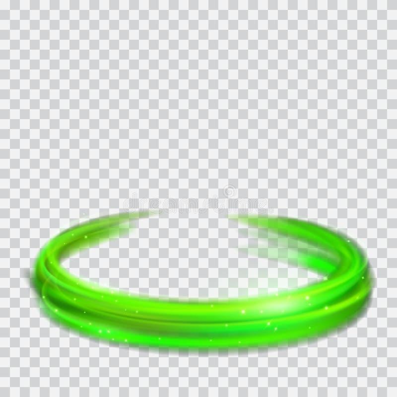Anelli d'ardore verdi del fuoco con gli scintilli illustrazione vettoriale