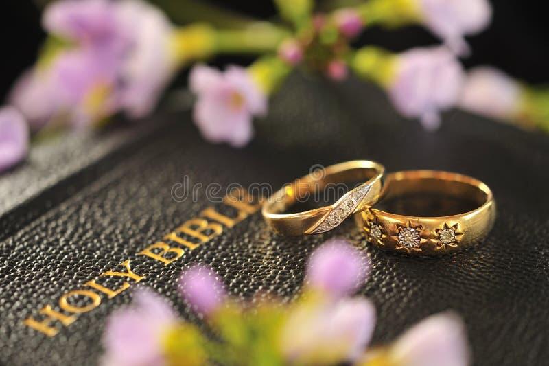 Anelli di cerimonia nuziale, bibbia fotografia stock libera da diritti