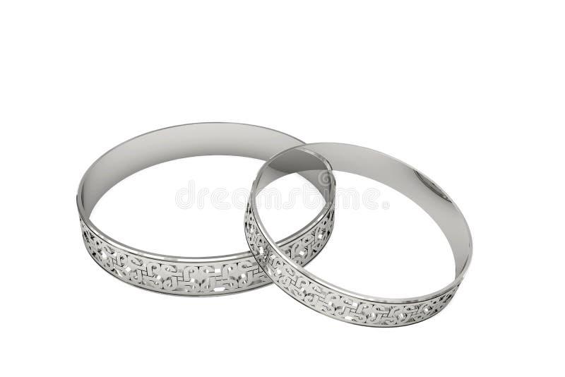 Anelli di cerimonia nuziale d'argento con il tracery magico royalty illustrazione gratis