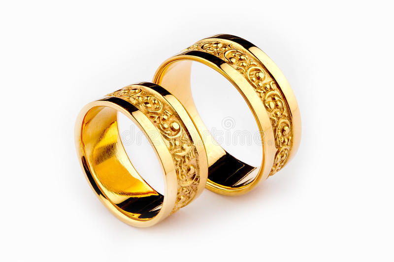 Anelli di cerimonia nuziale dell'oro immagine stock libera da diritti