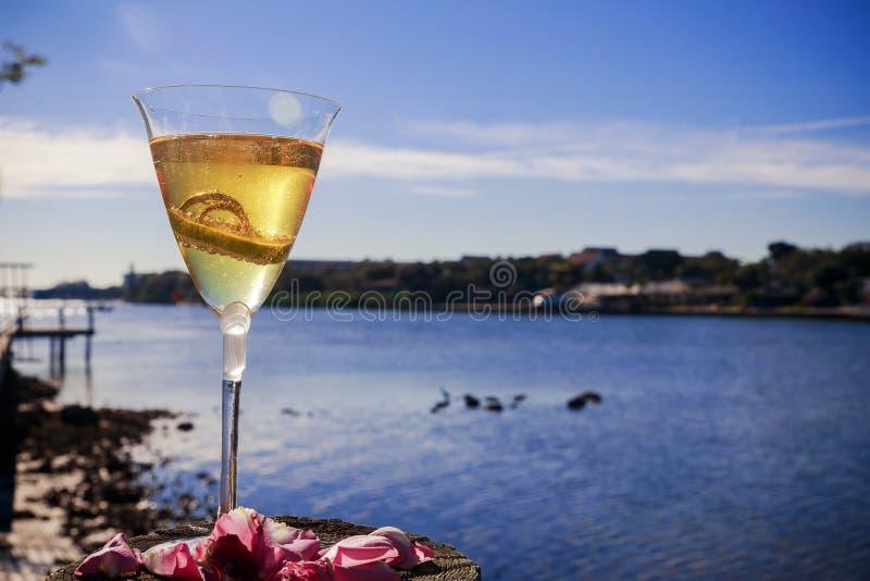 Anelli dorati di nozze in vetro di champagne Simbolo di amore e del matrimonio con le bolle del champagne alla luce solare immagini stock libere da diritti