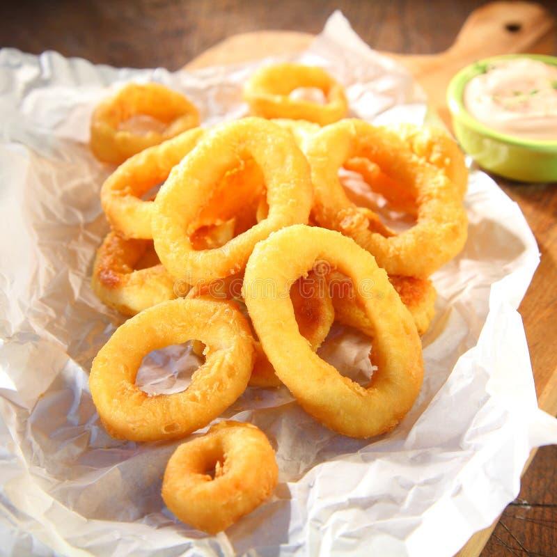 Anelli fritti croccanti del calamaro serviti con maionese fotografia stock