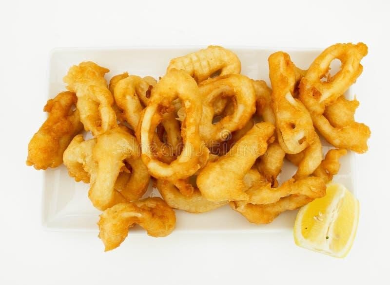 Anelli fritti del calamaro fotografie stock