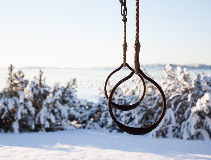 Anelli relativi alla ginnastica all'aperto nell'inverno immagini stock
