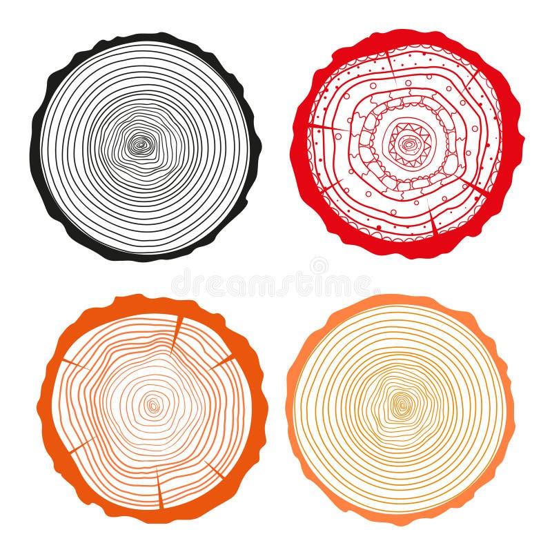 Anelli su un lungo Insieme della sezione trasversale dell'albero illustrazione vettoriale