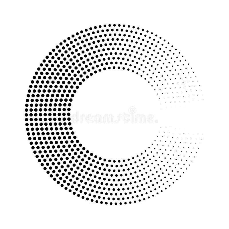 Anello astratto dei punti neri Effetto di semitono con la pendenza Fondo di vettore di progettazione moderna royalty illustrazione gratis