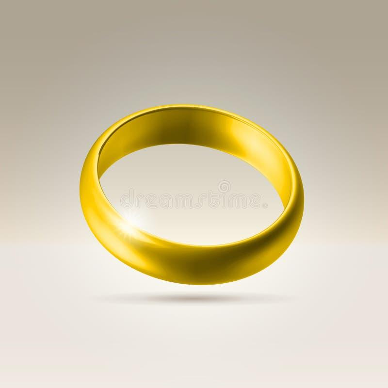 Anello brillante della fascia di cerimonia nuziale dorata illustrazione vettoriale