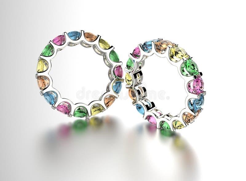 Download Anello Con Il Diamante Differente Illustrazione di Stock - Illustrazione di platino, aggancio: 55350657