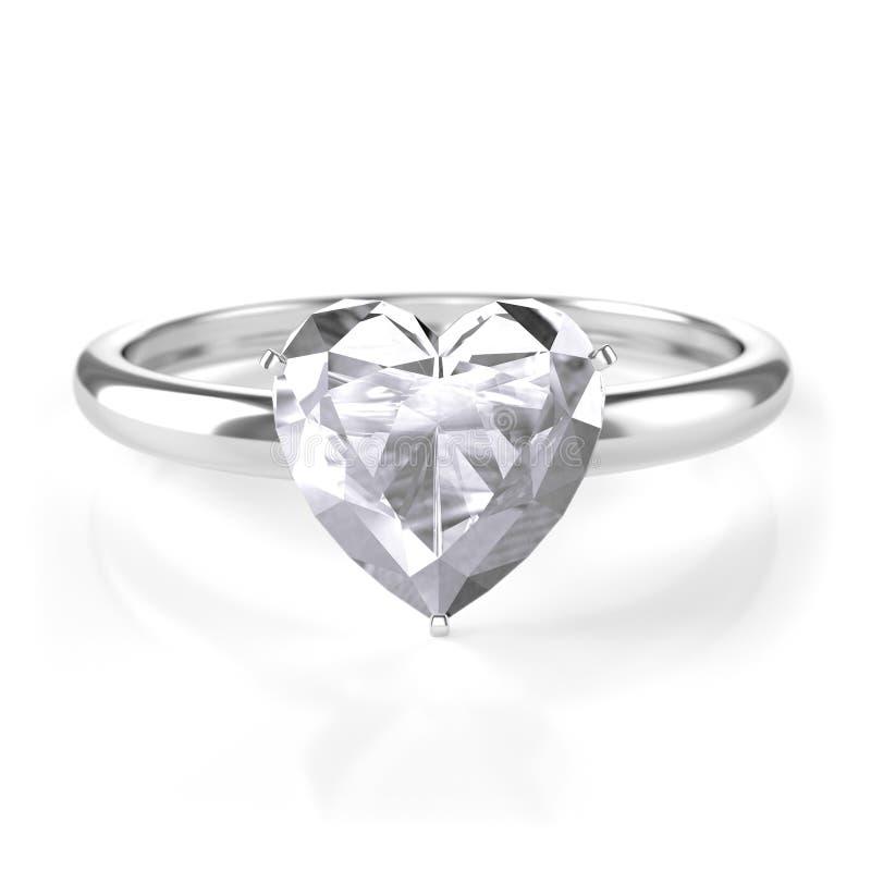 Anello d'argento con il diamante a forma di del cuore fotografia stock