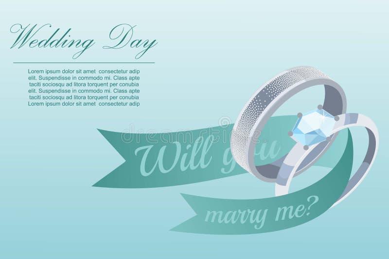 Anello d'argento di impegno e di proposta con l'illustrazione di vettore del gioiello del diamante Mi sposerete modello del manif royalty illustrazione gratis