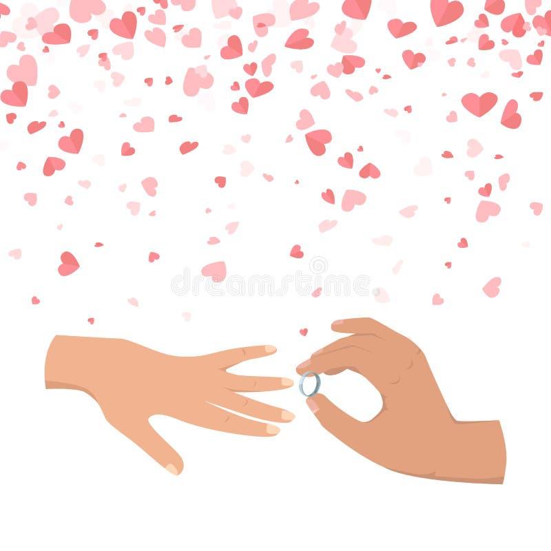 Anello d'uso della mano maschio di nozze al vettore femminile royalty illustrazione gratis