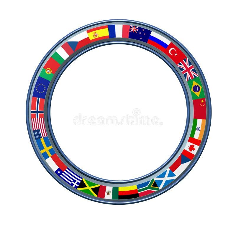 Anello del mondo del telaio globale delle bandierine illustrazione di stock