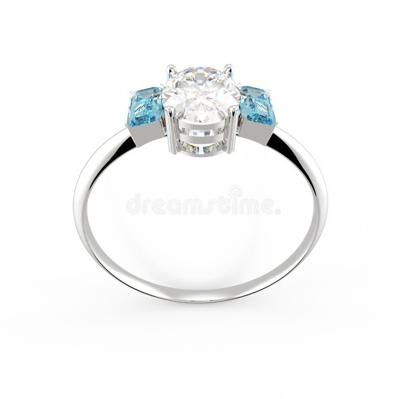 Anello di cerimonia nuziale con il diamante rappresentazione 3d illustrazione di stock