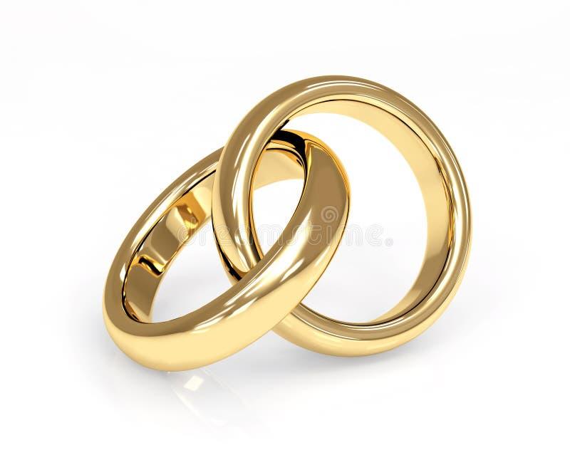 Anello di cerimonia nuziale dell'oro due 3d royalty illustrazione gratis