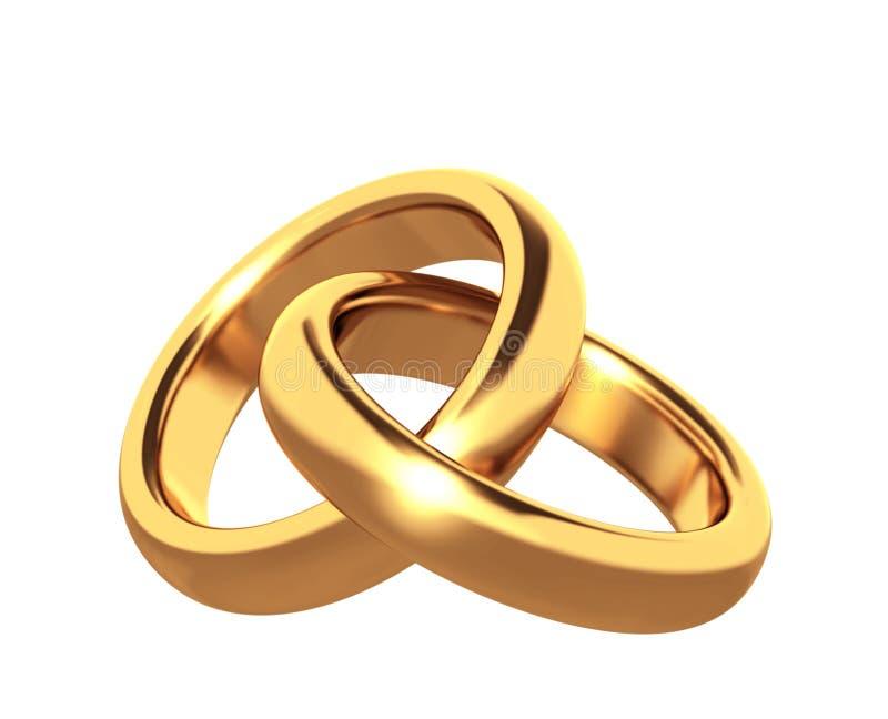 Anello di cerimonia nuziale dell'oro due 3d illustrazione di stock