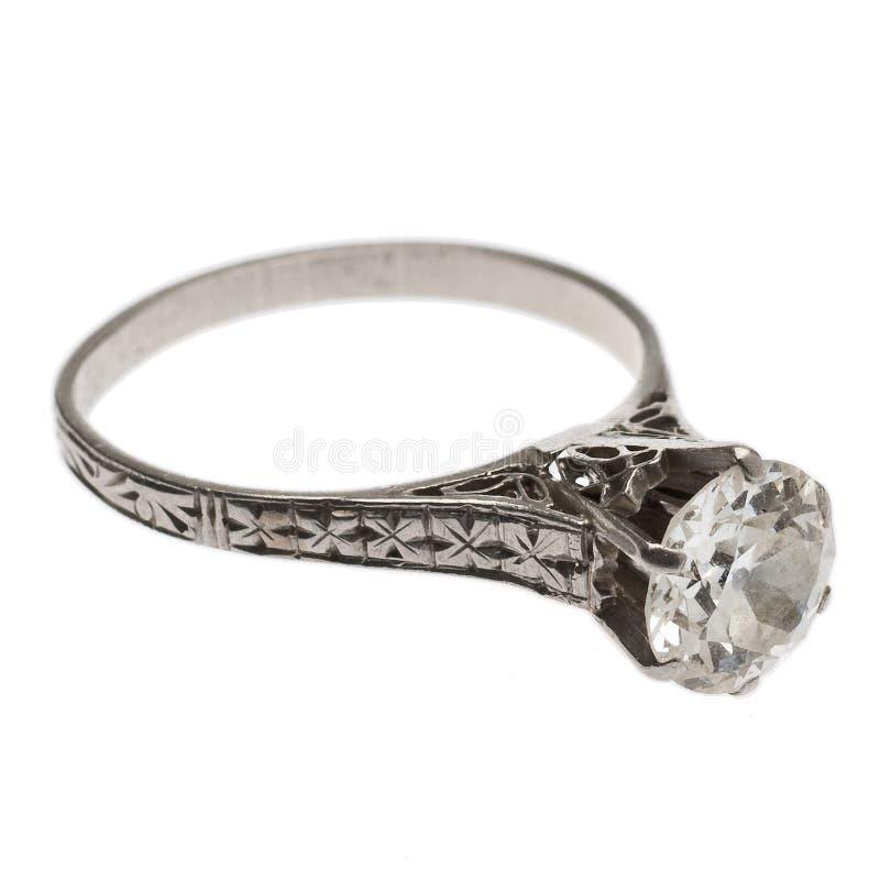 Anello di diamante antico a partire dagli anni 20 immagine stock libera da diritti