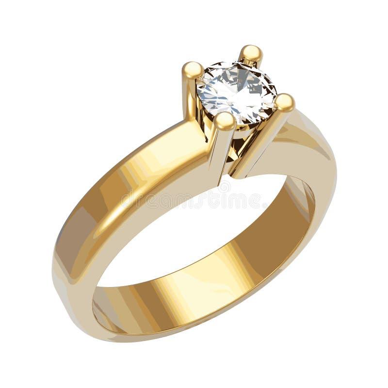 Anello di diamante brillante, illustrazione di vettore illustrazione di stock