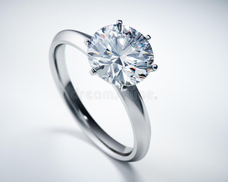 Anello di diamante brillante prezioso del solitario illustrazione vettoriale